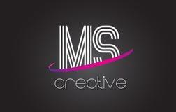 Ms M S Letter Logo con las líneas diseño y la púrpura Swoosh Fotos de archivo