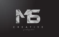 Ms M S Letter Logo con las líneas vector de la cebra del diseño de la textura Imagen de archivo