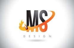 Ms M S Letter Logo con las llamas diseño del fuego y la naranja Swoosh Fotografía de archivo libre de regalías
