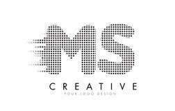 Ms M S Letter Logo con los puntos y los rastros negros Imágenes de archivo libres de regalías