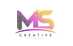 Ms M S Letter Logo Design con los puntos magentas y Swoosh Imagenes de archivo