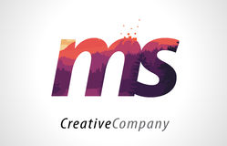 MS M S Letter Logo Design with Purple Forest Texture Flat Vector Royalty Free Stock Photo