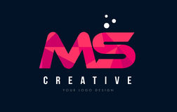 MS M S Letter Logo with Purple Low Poly Pink Triangles Concept Stock Photography