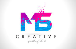 MS M S Letter Logo with Shattered Broken Blue Pink Texture Desig Stock Photography