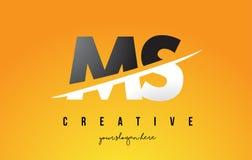 Ms M S Letter Modern Logo Design con el fondo amarillo y Swoo Imagen de archivo libre de regalías