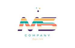Ms m s line stripes pastel color alphabet letter logo icon templ Royalty Free Stock Images