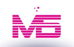 Ms m s pink purple line stripe alphabet letter logo vector templ Stock Image