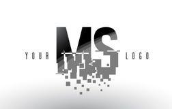 Ms M S Pixel Letter Logo con las casillas negras rotas Digitaces Imágenes de archivo libres de regalías