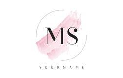 Ms M S Watercolor Letter Logo Design con el modelo circular del cepillo Fotografía de archivo libre de regalías