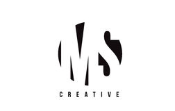 MS M S White Letter Logo Design with Circle Background. Royalty Free Stock Images