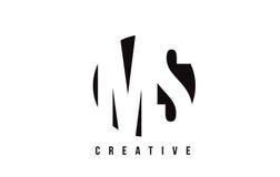 Ms M S White Letter Logo Design con el fondo del círculo Imágenes de archivo libres de regalías