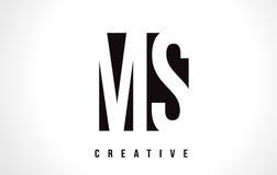 Ms M S White Letter Logo Design con la casilla negra Imagenes de archivo
