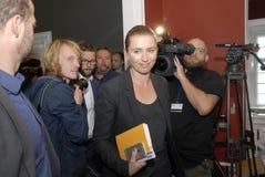 MS.METTE FREDERIKSEN_LEADER OF SOCIAL DEMOCRAT. Copenhagen/Denmark/ 10 September   2015_Ms.Mette Frederiksen leader of danish social democrat party talking to Stock Images
