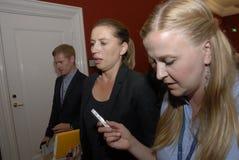 MS.METTE FREDERIKSEN_LEADER OF SOCIAL DEMOCRAT. Copenhagen/Denmark/ 10 September   2015_Ms.Mette Frederiksen leader of danish social democrat party talking to Royalty Free Stock Photo