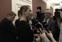Ms MINISTER FÖR METTE FREDERIKSEN FÖR LAG OCH BESTÄLLNING arkivbild