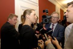 Ms MINISTER FÖR METTE FREDERIKSEN FÖR LAG OCH BESTÄLLNING arkivfoto