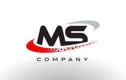 Ms Modern Letter Logo Design con Swoosh punteado rojo Fotos de archivo libres de regalías