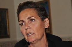 Ms PIA OLSEN DYHR _LEADER DUŃSKI socjalista FOLKEPARTI zdjęcia stock