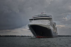 MS Queen Victoria. Southampton, United Kingdom - September 14, 2014: MS Queen Victoria, a cruise ship operated by the Cunard Line leaving the port of Southampton Royalty Free Stock Images