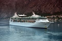 MS Rapsody of the Seas at anchor in Kotor Royalty Free Stock Photo