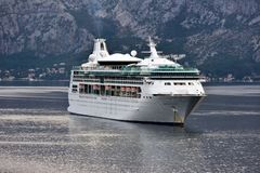 MS Rapsody of the Seas at anchor in Kotor Royalty Free Stock Photos
