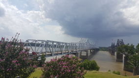 MS river bridge. A view of the MS river bridge Stock Images