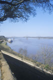 MS River and Steamboat gambling in Natchez, MS from river overlook Royalty Free Stock Photo