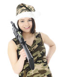 Ms. Santa S Got A Gun Royalty Free Stock Photography