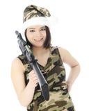 Ms. Santa's Got a Gun Royalty Free Stock Photography
