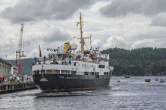 Ms sjøkurs arriving at the port of halden Royalty Free Stock Image