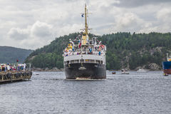 Ms sjøkurs arriving at the port of halden Royalty Free Stock Photo