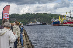 Ms sjøkurs arriving at the port of halden Royalty Free Stock Photography