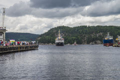 Ms sjøkurs arriving at the port of halden Royalty Free Stock Photo