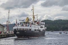 Ms sjøkurs arriving at the port of halden Royalty Free Stock Image