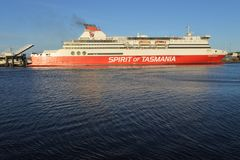 MS Spirit of Tasmania I. Enter Port of Devonport Tasmania.It`s a super fast ropax ferry operated on the route between Melbourne and Devonport Tasmania royalty free stock photos