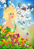 Ms. spring in flowers, Stock Images