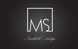 MS Square Frame Letter Logo Design com cores preto e branco Fotos de Stock