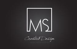 Ms Square Frame Letter Logo Design con colores blancos y negros Fotos de archivo