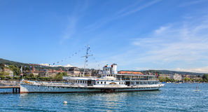 MS Stadt Rapperswil przy molem w Zurich Obraz Royalty Free