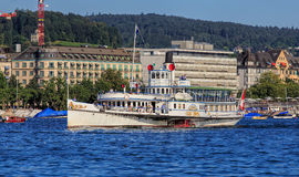 MS Stadt Zurich paddle ship on Lake Zurich in Switzerland Stock Image