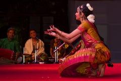 Ms. Sudharma Vaithiyanathan, Chennai, Indian women dancer. Indian dance festival - 2016 - Mamallapuram. January 14, 2016, bharathanatyam group Royalty Free Stock Images