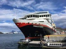 MS Trollfjord在Bodø,挪威 免版税库存照片