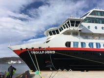 MS Trollfjord在Bodø,挪威 免版税库存图片