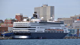 MS Veendam. HALIFAX NOVA SCOTIA JUNE 7 2014: MS Veendam is one of Holland America Line's cruise ships and is named for the capital of Northern Netherlands's peat Royalty Free Stock Photography