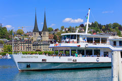 MS Waldstatter approaching a pier in Lucerne Stock Image