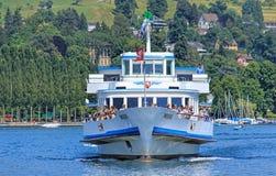 MS Weggis approaching a pier in Lucerne, Switzerland Stock Photography