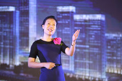 Ms ye tan speech in amoy city, china Stock Photography