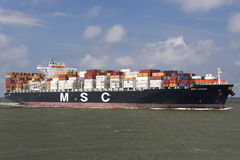 MSC ATHOS. MAASVLAKTE, THE NETHERLANDS - June 26, 2016: MSC ATHOS inbound Rotterdam. MSC is the world's second-largest shipping line in terms of container vessel Royalty Free Stock Images