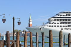 MSC cruise liner moving away from Venice lagoon. Royalty Free Stock Photo