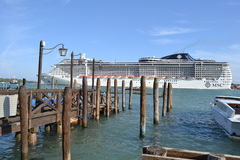 MSC cruise liner moving away from Venice lagoon. Royalty Free Stock Photography